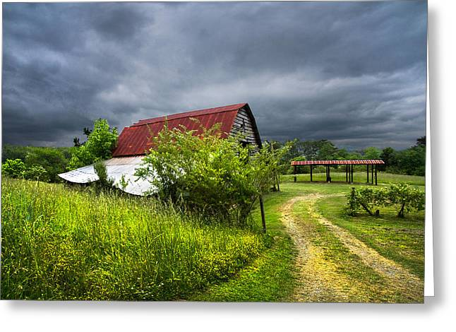 Red Roofed Barn Greeting Cards - Thunder Road Greeting Card by Debra and Dave Vanderlaan