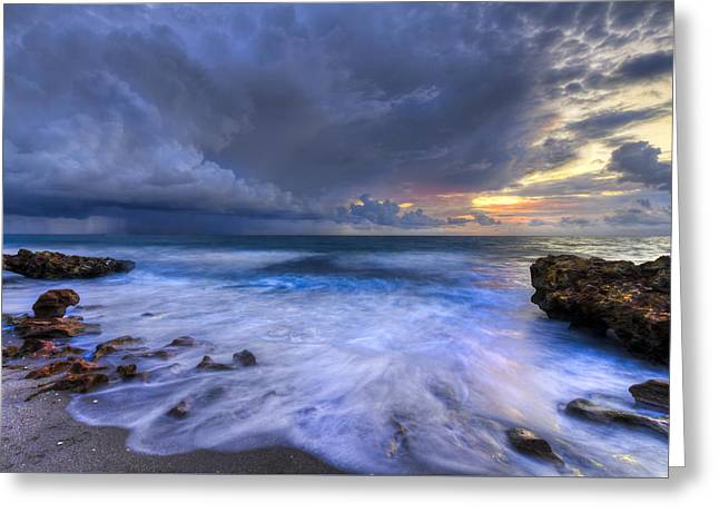 Thunder Tides Greeting Card by Debra and Dave Vanderlaan