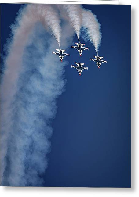 Greeting Card featuring the photograph Thunderbirds Diamond Formation by Rick Berk
