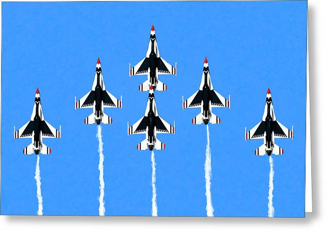Thunderbirds Flying In Formation Greeting Card by Mark Tisdale