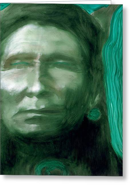 Greeting Card featuring the painting Thunderhawk by FeatherStone Studio Julie A Miller