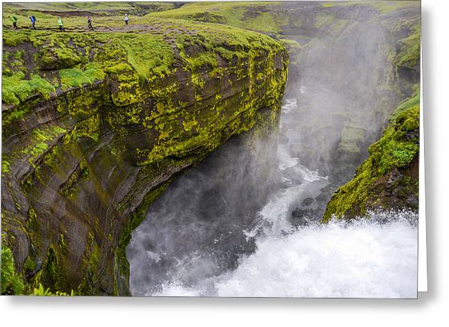 Thundering Icelandic Chasm On The Fimmvorduhals Trail Greeting Card