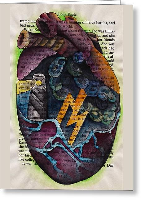 Thunderous Heart Greeting Card by Inkette Artist