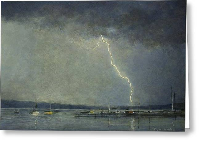 Greeting Card featuring the painting Thunderstorm Over Cazenovia Lake by Wayne Daniels