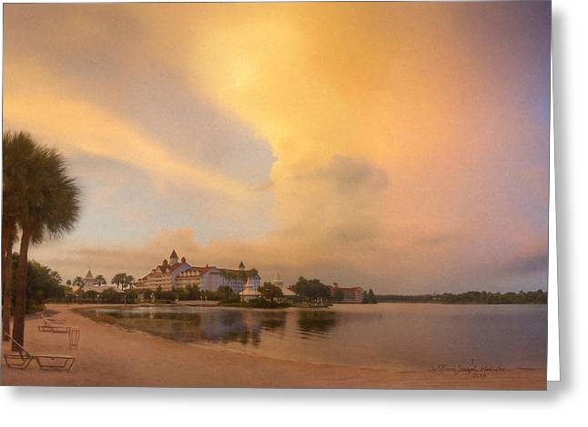 Thunderstorm Over Disney Grand Floridian Resort Greeting Card