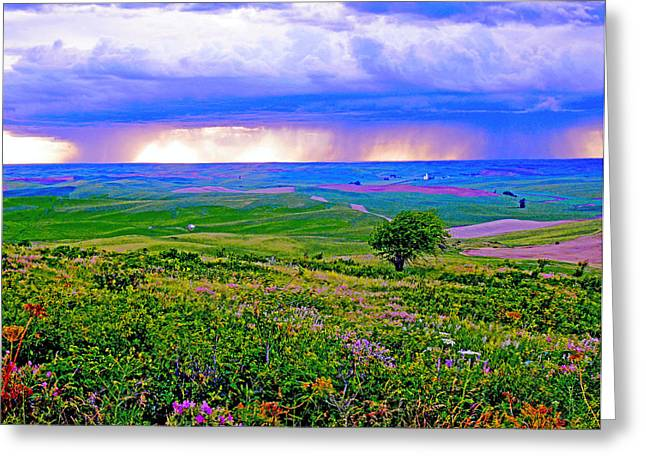 Thunderstorm Over The Palouse Greeting Card