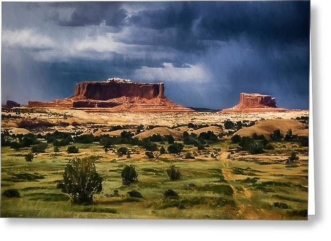 Thunderstorms Approach A Mesa Greeting Card