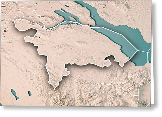 Thurgau Canton Switzerland 3d Render Topographic Map Neutral Bor Greeting Card