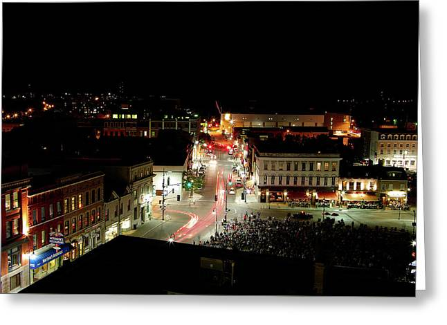 Thursday Night, Movies In The Square Greeting Card by Paul Wash