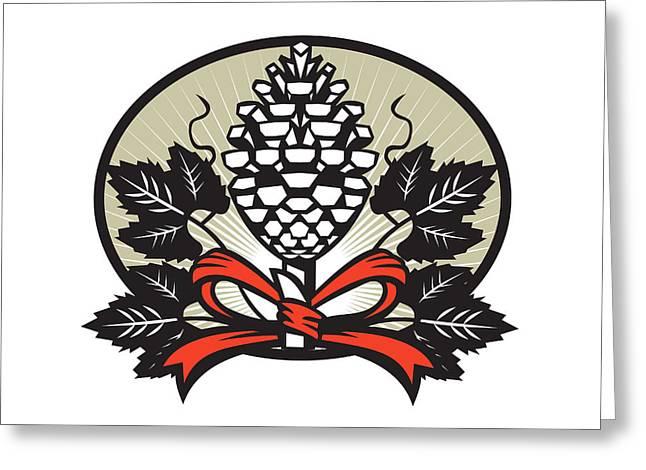Thyrsus Pine Cone Staff Leaves Oval Retro Greeting Card