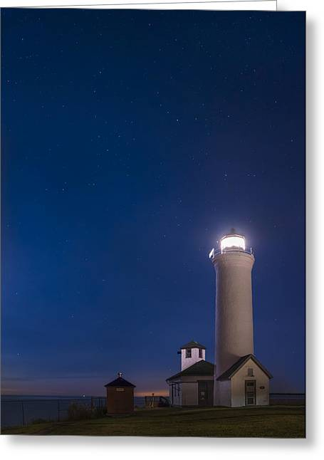 Greeting Card featuring the photograph Tibbets Point Light Night by Mark Papke
