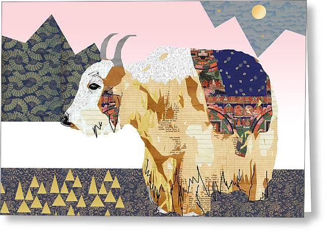 Tibet Yak Collage Greeting Card by Claudia Schoen