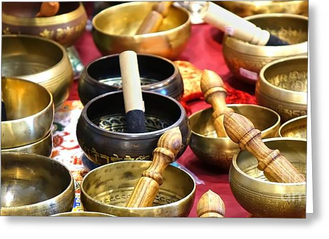 Greeting Card featuring the photograph Tibetan Bronze Singing Bowls by Yali Shi