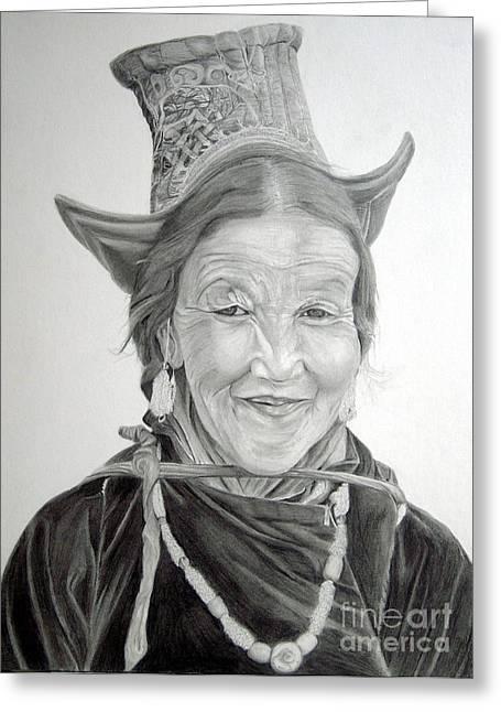 Ethnic Drawings Greeting Cards - Tibetan Delight Greeting Card by Enzie Shahmiri