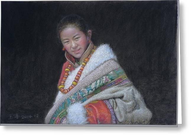 Tibetan Girl - 1 Greeting Card by Bo  Wang
