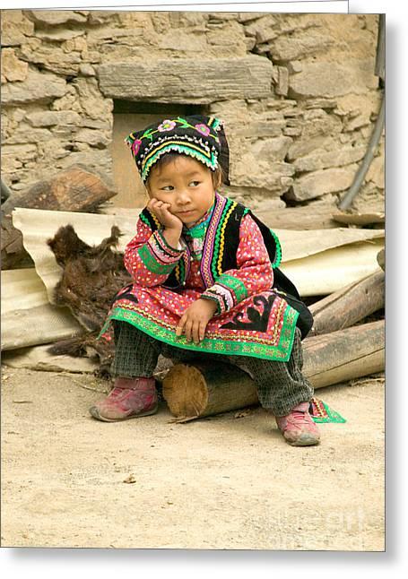 Tibetan Girl Greeting Card by Inga Spence