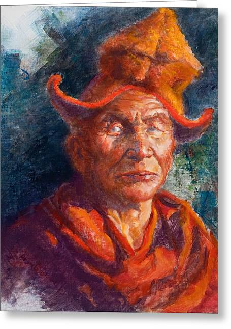 Tibetan Monk Greeting Card by Ellen Dreibelbis