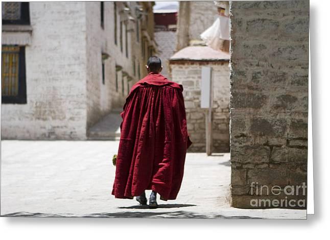 Tibetan Monk Greeting Card by Kalpana Geisenheyner