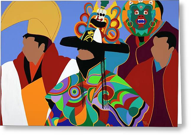 Tibetan Monks Cham Dancer Greeting Card
