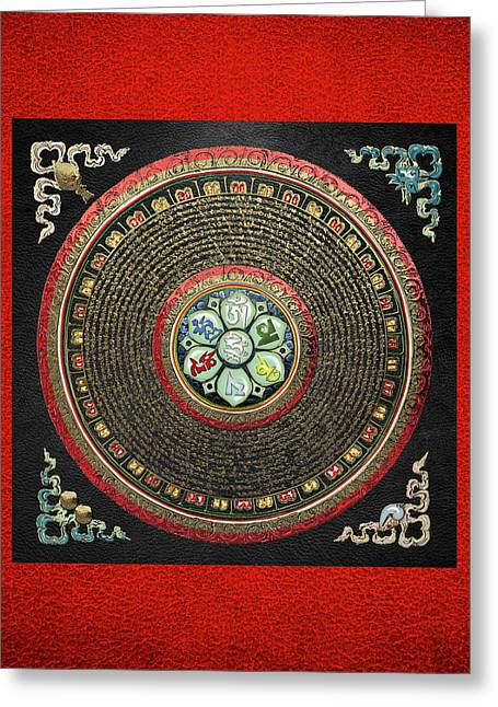 Tibetan Om Mantra Mandala In Gold On Black And Red Greeting Card by Serge Averbukh