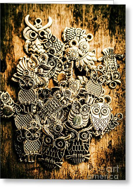 Tibetan Owl Charms Greeting Card