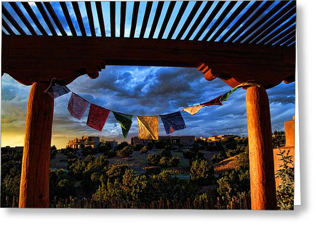 Greeting Card featuring the photograph Tibetan Prayer Flags Outside My Office At Sundown by Paul Cutright