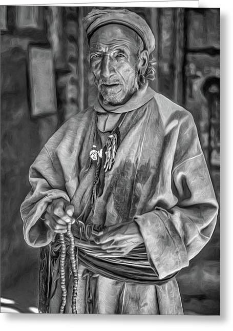 Tibetan Refugee Bw Greeting Card by Steve Harrington