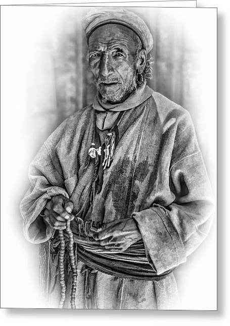 Tibetan Refugee - Vignette Bw Greeting Card by Steve Harrington