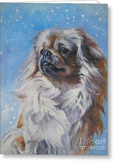 Tibetan Spaniel In Snow Greeting Card by Lee Ann Shepard