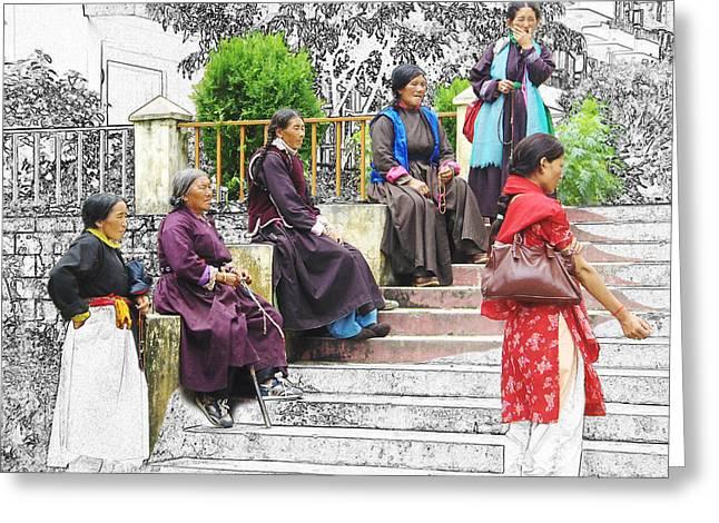 Tibetan Women Waiting Greeting Card