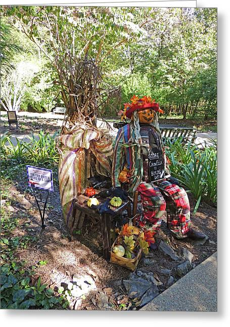 Tic-tac Crow Three In A Row Scarecrow 2 At Cheekwood Botanical Gardens Greeting Card