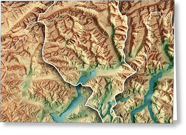 Ticino Canton Switzerland 3d Render Topographic Map Border Greeting Card by Frank Ramspott