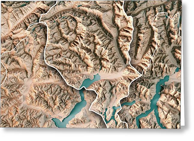 Ticino Canton Switzerland 3d Render Topographic Map Neutral Bord Greeting Card by Frank Ramspott