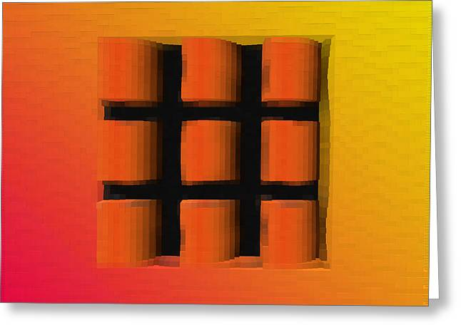 Tick Tac Toe Window Greeting Card by Debbie McIntyre