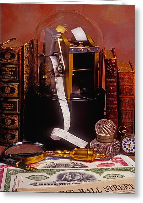 Ticker Tape Machine Greeting Card by Garry Gay