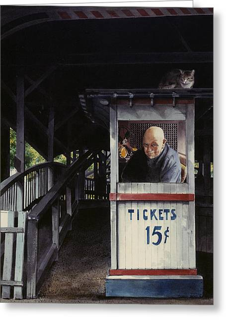Ticket Booth Greeting Cards - Ticketmaster Greeting Card by Denny Bond