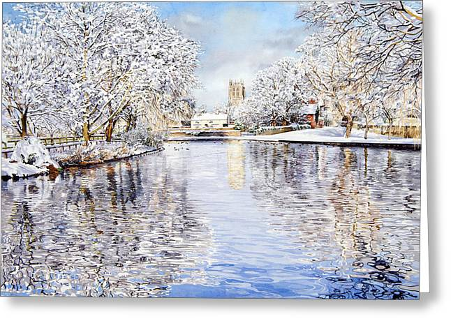 Tickhill Duck Pond Greeting Card by Matthew Phinn