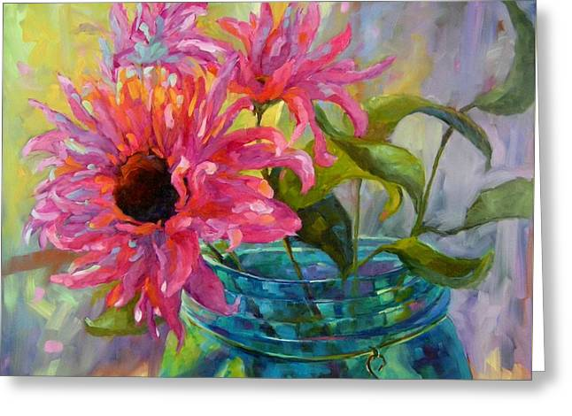 Greeting Card featuring the painting Tickled Pink by Chris Brandley