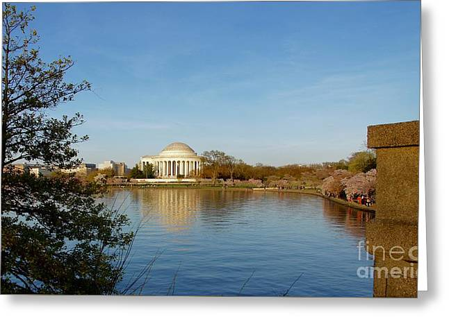 Tidal Basin And Jefferson Memorial Greeting Card by Megan Cohen