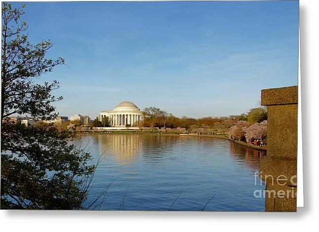 Tidal Basin And Jefferson Memorial Greeting Card by Megan Cohen