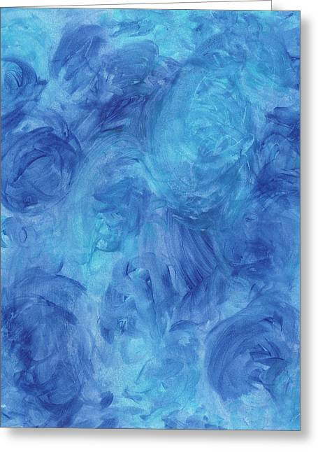 Tidal Blue Aqua Roses Greeting Card by One Creation
