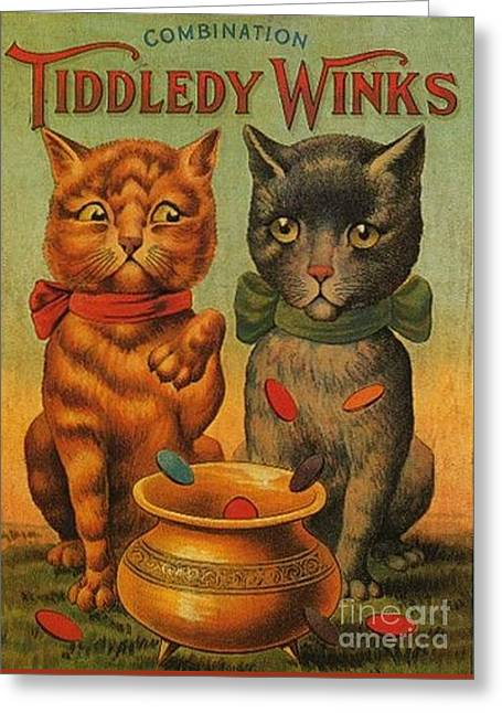 Tiddledy Winks Funny Victorian Cats Greeting Card