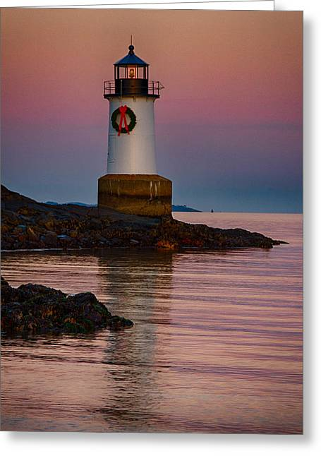 Tide Coming In At Winter Island Lighthouse Greeting Card by Jeff Folger