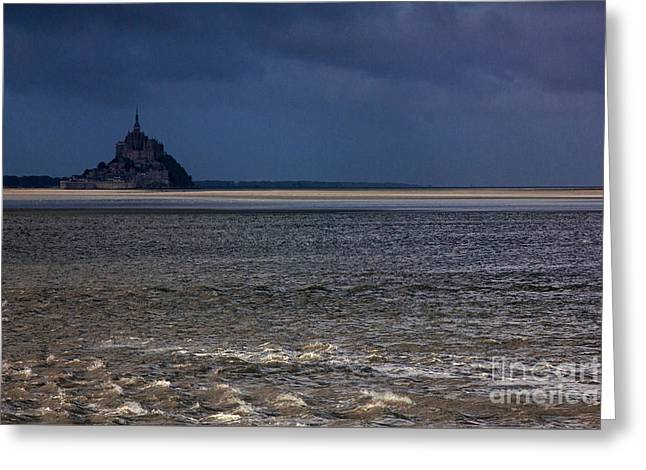 Tide In Mont Saint-michel Bay Greeting Card