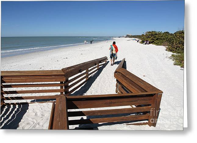 Tide Of Sand Over A Ramp On The Beach In Naples Florida Greeting Card