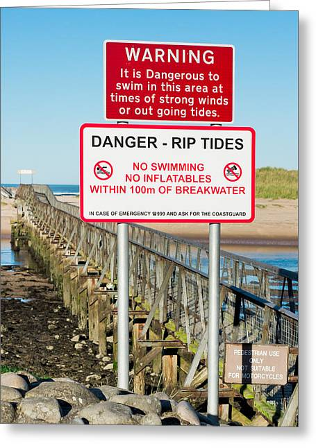 Tide Warning Greeting Card by Tom Gowanlock