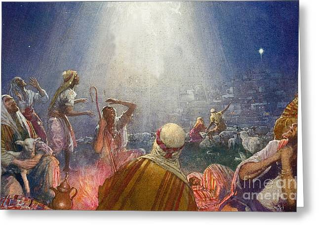 Tidings Of Great Joy Greeting Card by John Millar Watt