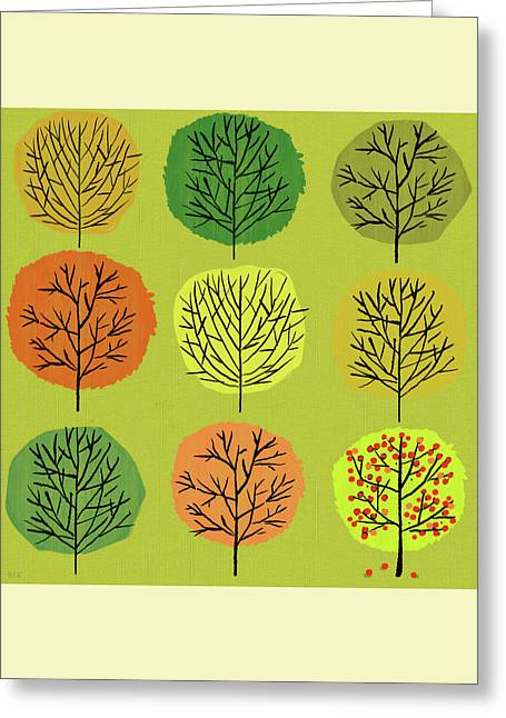 Tidy Trees All In Pretty Rows Greeting Card