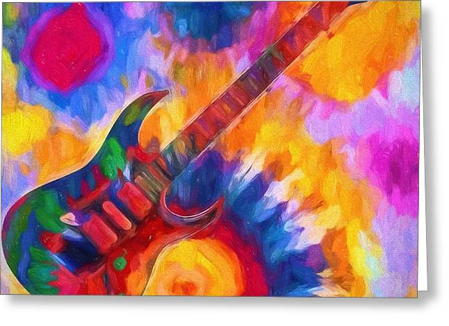Tie Dye Guitar Greeting Card
