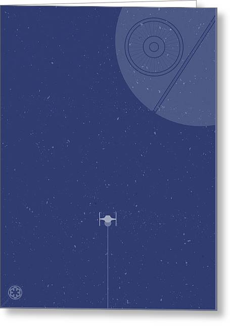 Tie Fighter Defends The Death Star Greeting Card by Samuel Whitton